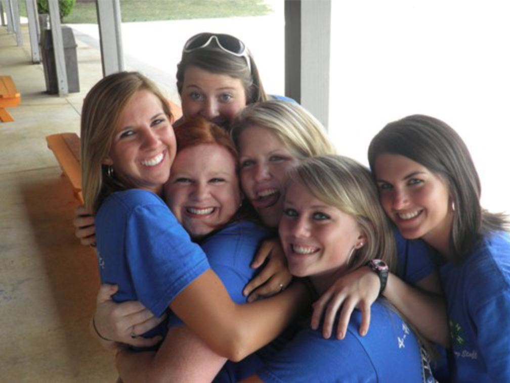 4-H is Positive Youth Development - 6 Teenage 4-H Girls Hugging