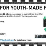 4-H Film Fest - Call For Youth Made Films - All Filmmakers ages 11-18 are encouraged to submit their (film(s) for screening at the national 4-H film festival! The categories are: * One Minute Movie * Promotional * Narrative * Documentary * Voices of 4-H history - Please visit http://filmfest4h.org for details and rules. Deadline July 17