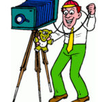 Caricature of man shooting picture with old time camera