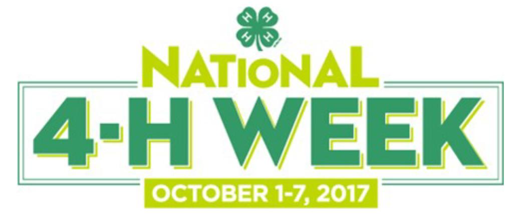 National 4-H Week - October 1-7, 2017