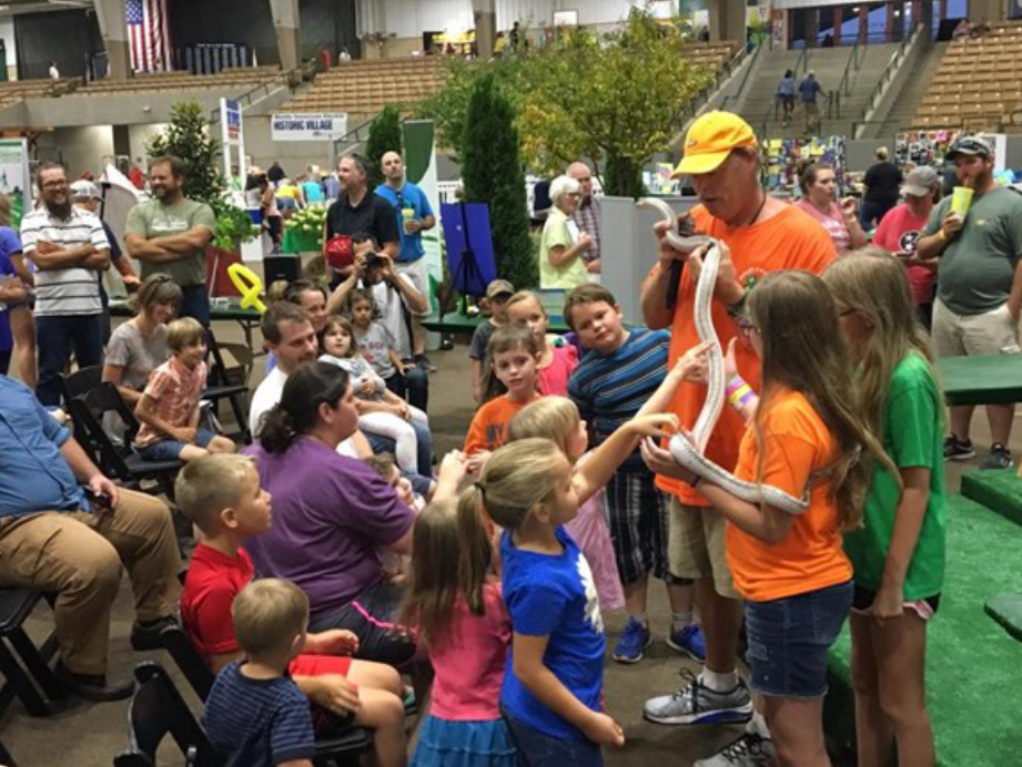 Williamson County Showcases STEM at Fair - 4-H'ers learning about snakes