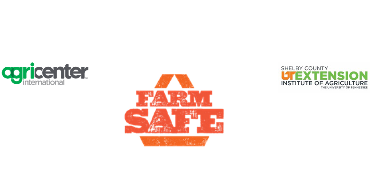 AgriCenter International, Farm Safe, & Shelby County UT Extension Institute of Agriculture logos