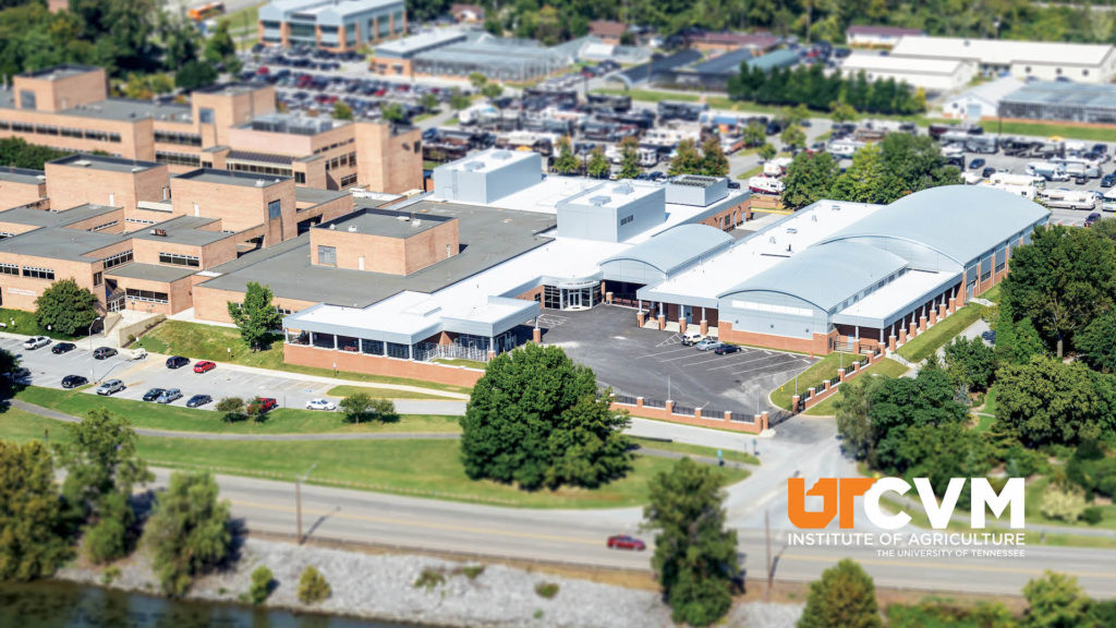 An aerial shot of the campus of the UT College of Veterinary Medicine