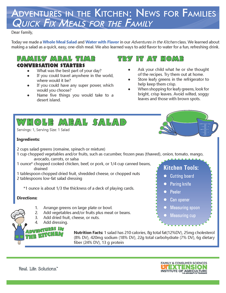 Adventures In the Kitchen: News for Families Quick Fix Meals for the Family