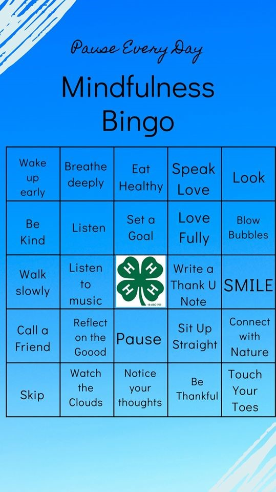 Pause Every Day - Mindfulness Bingo