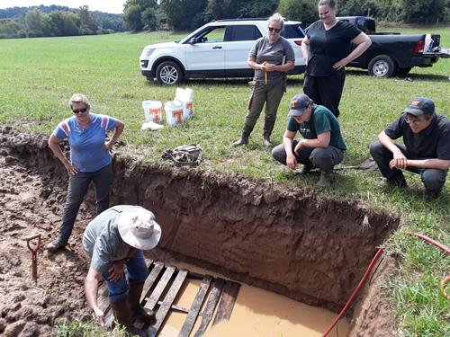 Dr. Sean Schaeffer working on measuring soil properties