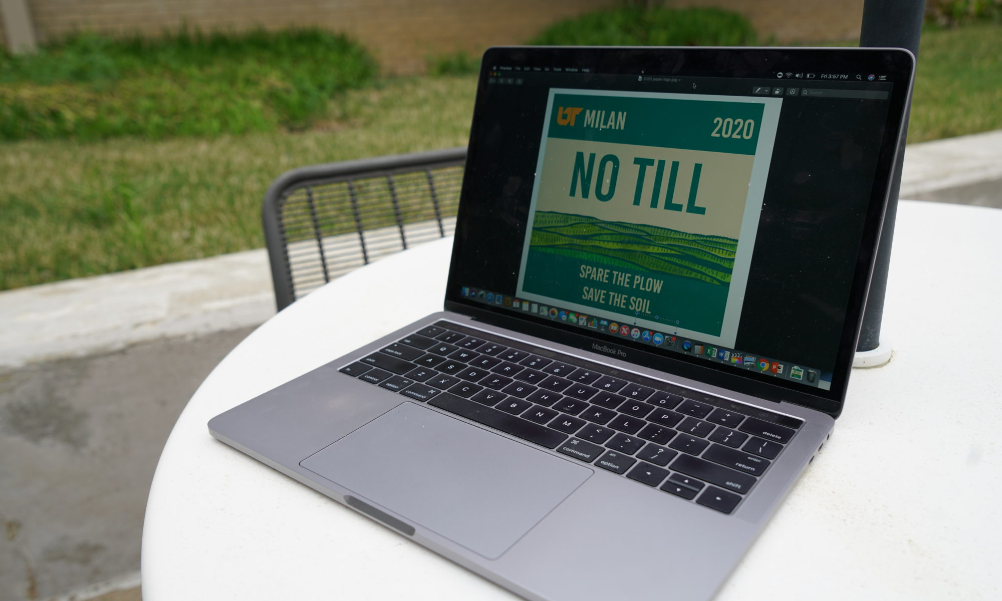 Picture of laptop on a table outdoors