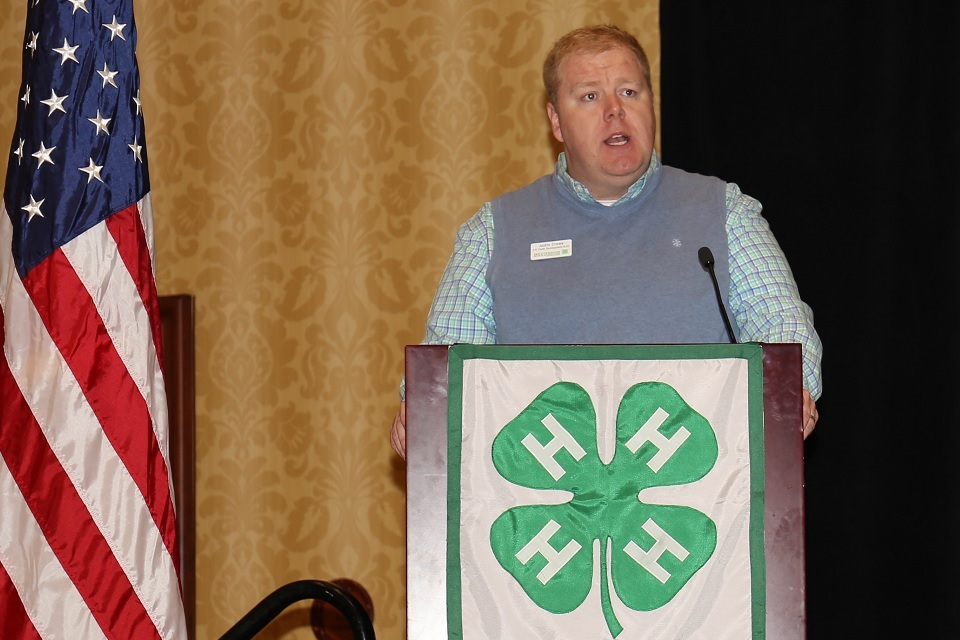 Picture of Justin Crowe addressing 4-H Congress