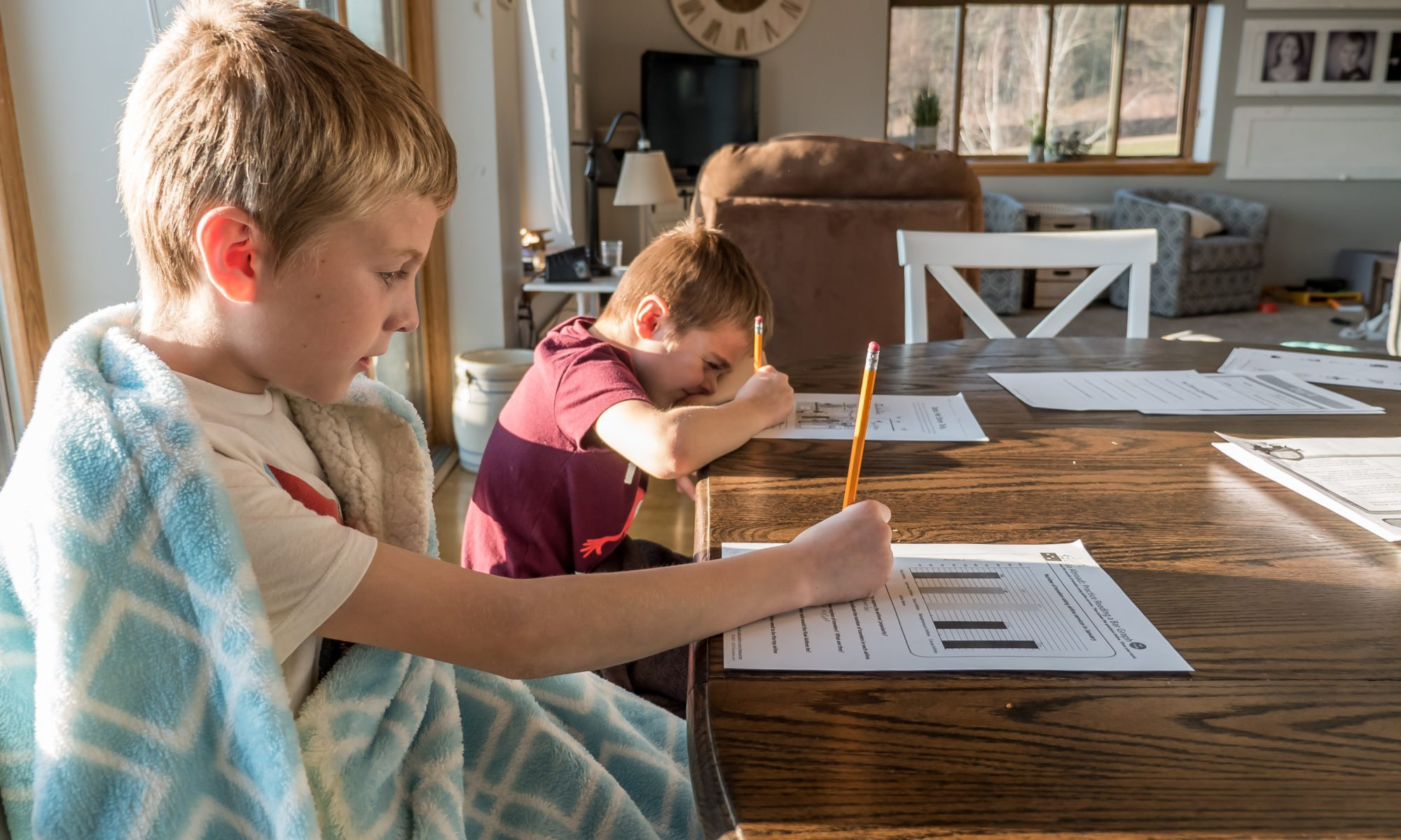 Picture of two young boys doing homework at a kitchen table