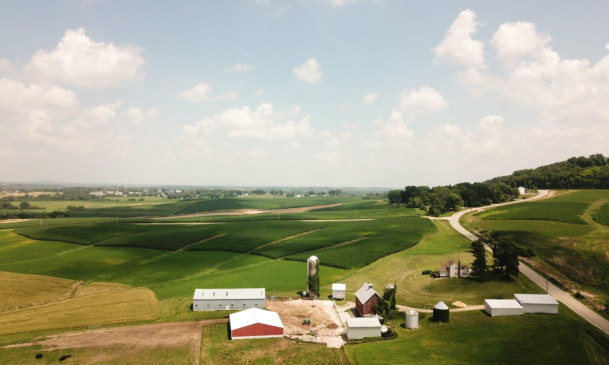 Aerial photo of farming operation