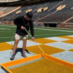 Brinkley Mull paints checkerboard