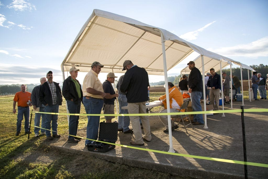 Visitors to a Field Day at the Greeneville AgResearch and Education Center record their attendance