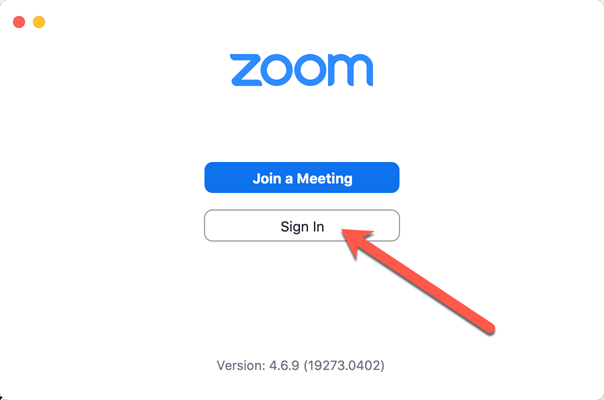 A screen capture showing the first log in screen of Zoom