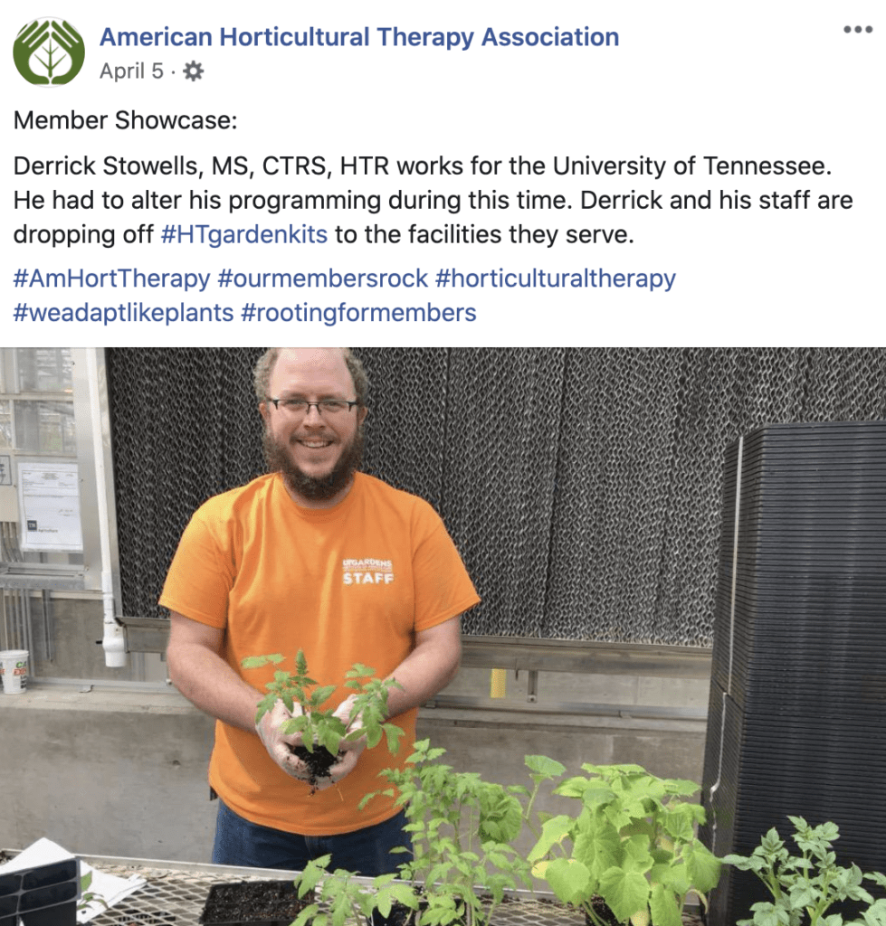 A screen capture of a Facebook post, showing Derrick Stowell holding a small plant