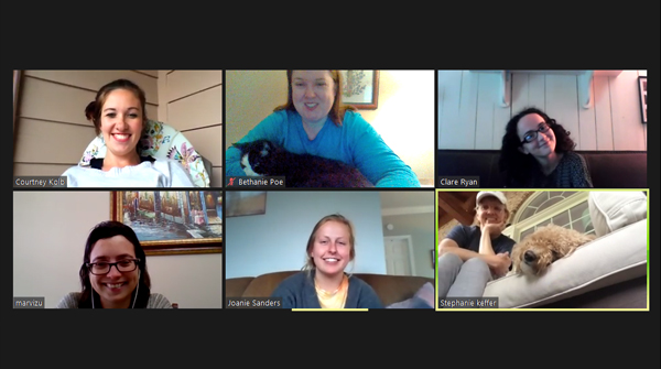 A group of HABIT volunteers and FCS staff video chat on Zoom