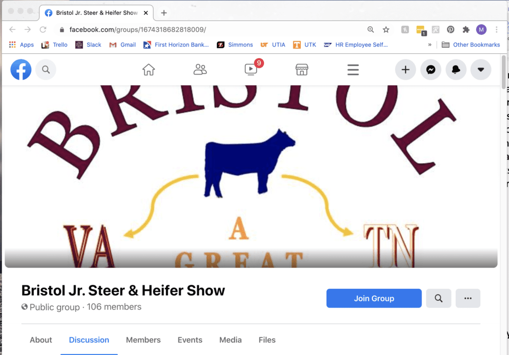 A screen capture of the Bristol Jr. Steer and Heifer Show Facebook group