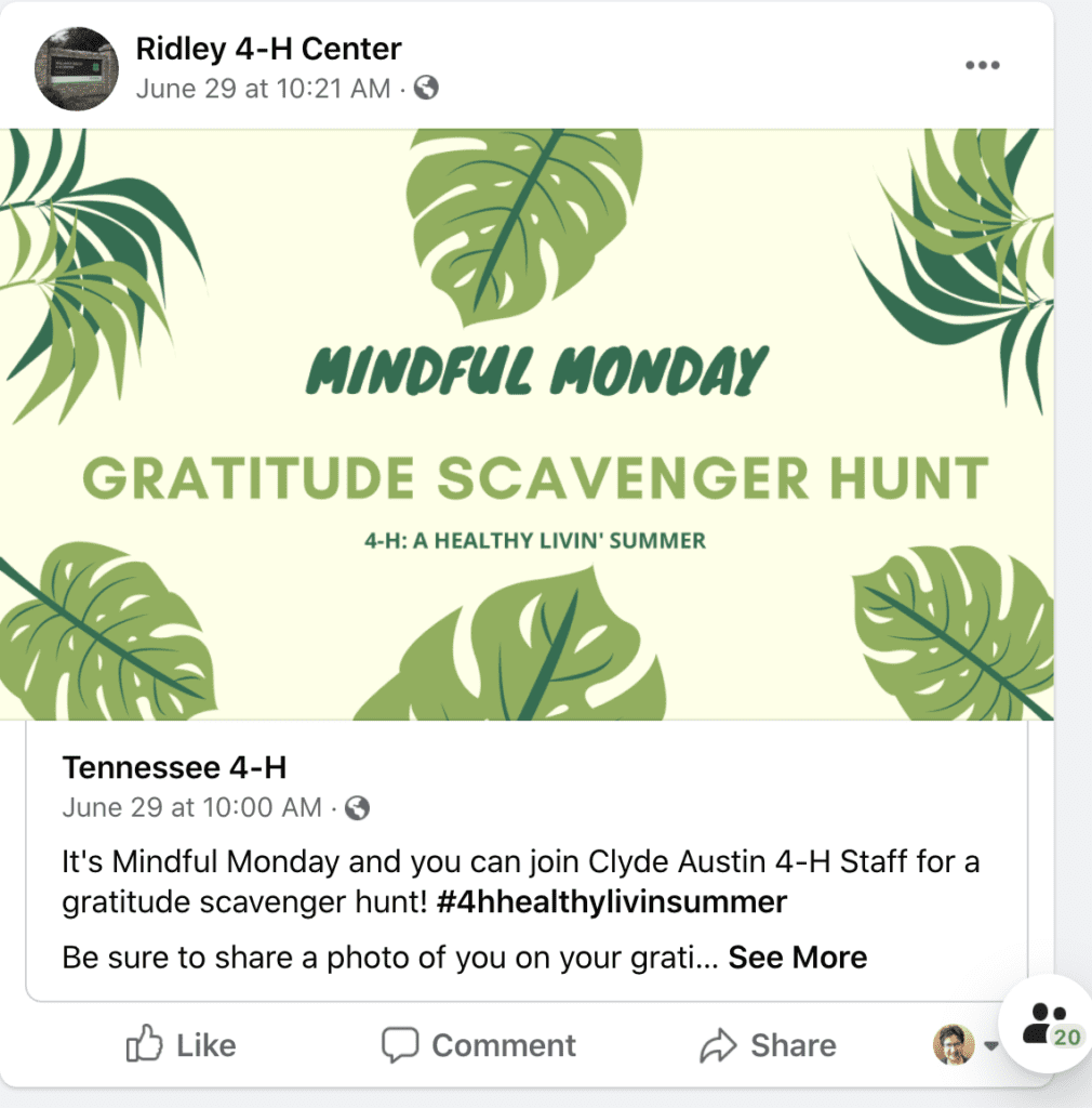 A screen capture of the Ridley 4-H Center's Facebook page advertising a Mindful Monday scavenger hunt